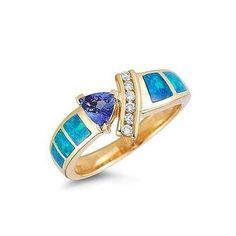 Amazon.com: Tanzanite.com 14K Yellow Gold Tanzanite Diamond & Opal Inlay Ring .60 TCW: Jewelry