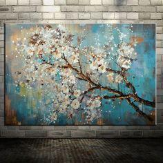 Grande 100% Pintado A Mano Las Flores Del Árbol Morden Abstracto Pintura Al Óleo Sobre Lienzo Arte de La Pared de Pared Cuadros Para la Sala de Vivir Decoración Para El Hogar