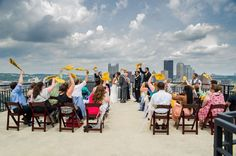 It's a Pittsburgh thing. If you don't know about the terrible towel? You don't know the steel city. We love when couples bring their passions personality and culture into their wedding day. The Steeler's Terrible Towel is no exception.