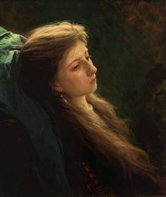 Иван Николаевич Крамской - Девушка с распущенной косой / Ivan Kramskoy - Girl with a Tress, 1873, Museum of Fine Arts, Voronezh, Russia