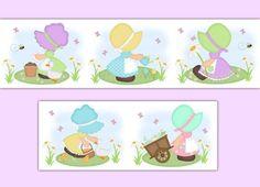 GIRL NURSERY DECOR Wallpaper Border Wall Art Decals Room Baby Shower Spring Bonnet Decorations Childrens Kids Butterfly Bee Goose Bedroom #decampstudios #girlsroom #bonnetgirls #wallborderdecals #girlnursery