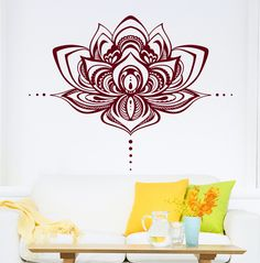 Lotus Flower Wall Decal Vinyl Stickers Namaste Bohemian Mandala Bedroom Home Decor Yoga Studio Home Decoration Poster WW-108 #Affiliate