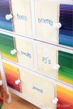 Use bright artist's pencils for this DIY dresser design for a child's room!