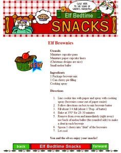ELF BROWNIES are on of the North Pole's best bedtime snacks. All of your 'little elves' will love these.