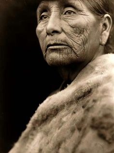 a rare image of a Hupa Indian Woman. Taken in 1923 by Edward S. Curtis.