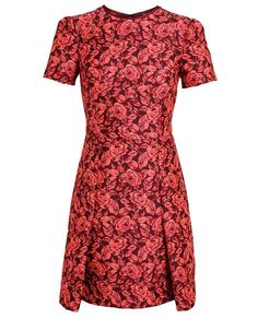 Erdem Floral Jaquard Dress -   Pink and claret floral jacquard dress from Erdem. Round neck with dark red piping and concealed zip at rear. Short sleeves with subtle exaggerated shoulders. Darts for shaping and drawn in at waist. Pleated at hem.