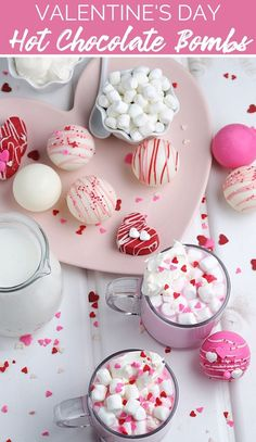 What better way to celebrate the month of love than by enjoying these adorably delectable Valentine's Hot Chocolate Bombs with your love! Chocolate Almond Bark, Types Of Chocolate, Chocolate Shells, Hot Chocolate Mix, Chocolate Coating, Chocolate Molds, Melting Chocolate, Strawberry Milk