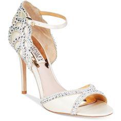 Badgley Mischka Roxy Evening Sandals ($235) ❤ liked on Polyvore featuring shoes, sandals, ivory satin, badgley mischka shoes, holiday shoes, ivory evening shoes, badgley mischka sandals and ivory shoes
