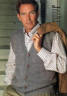 Vest patterns for men. Mens Fashion Sweaters, Men Sweater, Crochet Men, Knit Vest Pattern, Knitting Paterns, Country Wear, Madame, Men Looks, Pulls