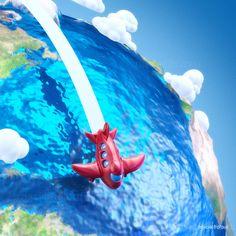 Cartoon airplanes and planet earth #cartoon #airplane #earth