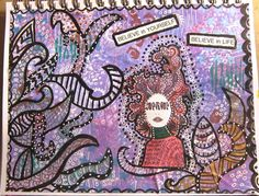 Background colored with acrylic paints on a gelli plate. Stencils, a Dylusions rubber stamp, and lots of doodles were added to complete this page.