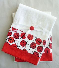 Kitchen towels lady bug in red and black by SeamlessExpressions, $26.00o