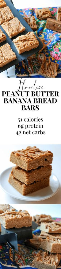 These bars replace flour with peanut butter and the result is GLORIOUS. Super rich banana bread for only 50 calories!!