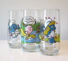 Pop Culture Glass Tumblers Set of 3 Charlie by halfpintsalvage, $15.00