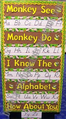 literacy concepts objective: Given a pencil the students will be able to copy down letters of the alphabet from the poster program goals: to develop fine motor coordination Jungle Classroom Door, Rainforest Classroom, Classroom Board, Toddler Classroom, Kindergarten Classroom, Future Classroom, Classroom Themes, Classroom Organization, Classroom Displays