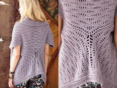 Cardi Shawl, Vogue Knitting Crochet This cardi shawl by Jennifer Hansen, crocheted in Berrocos Flicker in a wavy-stitch pattern, is worked in a large rectangle that is folded and joined in three pieces to shape. Crochet Cardigan, Crochet Shawl, Easy Crochet, Knit Crochet, Crochet Style, Crochet Sweaters, Crochet Tops, Knit Dress, Knitting Videos