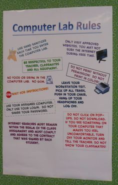 Teach the Bits and Bytes - Computer Lab Rules - Free PDF School Rules Memes Computer Lab Posters, Computer Lab Rules, Computer Lab Decor, Elementary Computer Lab, Computer Teacher, Computer Lessons, Computer Class, Technology Lessons, Teaching Technology