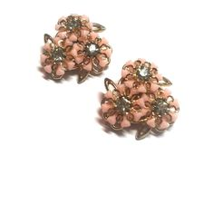 Candy Pink Plastic Flowers and Rhinestones Clip Earrings circa 1950s