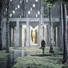 """A disused grain silo in Malmö is converted into a crematorium and """"vertical cemetery"""" in this proposal by Swedish architecture students Fredrik Thornström and Karolina Pajnowska. Contemporary Doors, Contemporary Garden, Contemporary Architecture, Contemporary Paintings, Contemporary Design, Contemporary Building, Minimalist Architecture, Contemporary Apartment, Contemporary Office"""