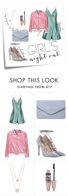 """""""girls' summer night out"""" by habondlove ❤ liked on Polyvore featuring Post-It, Topshop, Dorothy Perkins, MANGO, Valentino, Michael Kors, Maybelline and girlsnightout"""