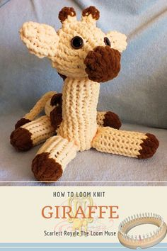 Round Loom Knitting, Loom Knitting Projects, Loom Knitting Patterns, Simple Knitting Projects, Loom Knitting Scarf, Knitted Stuffed Animals, Knitted Animals, Yarn Crafts, Sewing Crafts