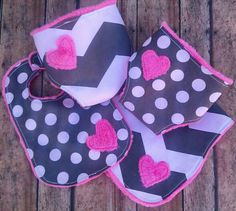 adjustable baby doll diaper set with matching baby doll bib and burp cloth in gray chevron and dots. $24.00, via Etsy.