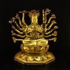 China Tibet Gilt Gold Bronze Cundhi Bodhisattva Statue