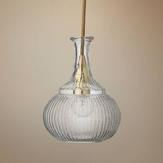 """Oliva 6 1/2"""" Wide Clear Glass with Brass Mini Pendant - #12V73 
