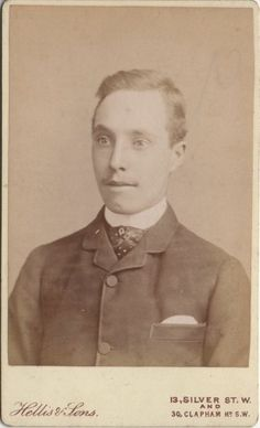 """CDV photo of a Handsome Victorian Gentleman taken in London around 1880s by Robert Hellis (1835 - 1895). Operating under """"Hellis & Son"""". Hellis was the studio with the most branches in London in the 19th Century."""