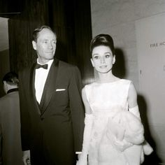 Audrey Hepburn and Mel Ferrer photographed at the British Film Academy Awards, April 1964.