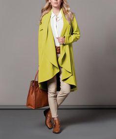 Look what I found on #zulily! Light Green Wool-Blend Drape Coat #zulilyfinds
