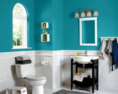 Purple/White Bathroom, Sherwin-Williams paint color SW 6823 Brave Purple I WANT! Basement Wall Colors, Bedroom Wall Colors, Bathroom Colors, Bathroom Ideas, Bathroom Things, Blue Green Paints, Green Paint Colors, Room Paint Colors, Hall Bathroom