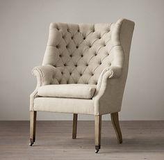 Restoration Hardware(レストレーションハードウェア)ファブリックチェア「19th C. English Wing Chair」Dry Walunut with Sand Belgain Linen