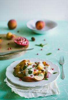 Peach Salad with Yoghurt and Pomegranate