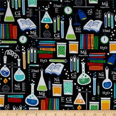 Kanvas Academic Club Good Chemistry Black from @fabricdotcom  Designed by Maria Kalinowski for Kanvas in association with Benartex, this cotton print fabric is perfect for quilting, apparel and home decor accents. Colors include black, red, yellow, white, shades of grey, shades of blue, shades of green, and shades of orange.