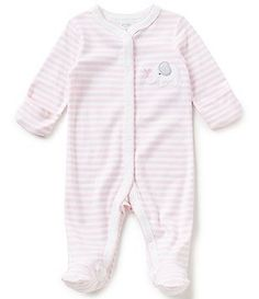 Starting Out Baby Girls Newborn-6 Months Striped Elephant-Appliqued Footed…