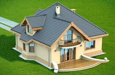 House Roof Design, 2 Storey House Design, Village House Design, Bungalow House Design, Bungalow House Plans, Facade House, Small House Layout, House Layouts, Beautiful Small Homes