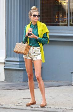 floral shorts + green blouse + yellow cardigan