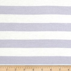 Stretch Rayon Jersey Knit Large Stripe Lilac Pale/White from @fabricdotcom  This versatile fabric is perfect for creating stylish tops, tanks, lounge wear, gathered skirts and fuller dresses with a lining. It features a soft hand, fluid drape and four way stretch- 50% stretch across the grain, 25% vertical stretch. It has horizontal yarn dyed stripes.