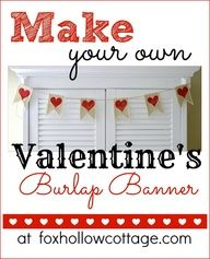 Fox Hollow Cottage: Valentine's Day Banner in Burlap {a tutorial}