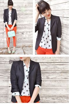 Blazer, orange pants, heart blouse, mint shoes #style