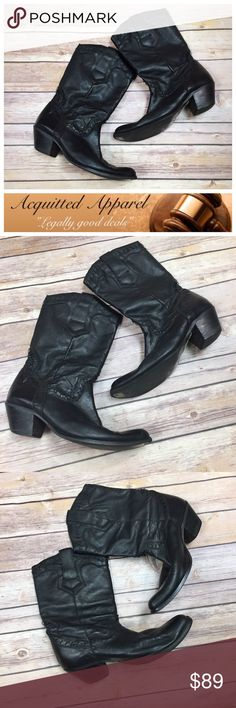 (DURANGO) Leather Stitched Black Cowgirl Boots Amazing pre loved vintage durango boots in excellent condition. Real leather.   Size 7.5 Durango Shoes Heeled Boots