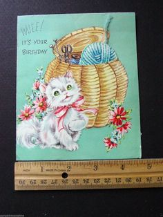 F474 Vintage 1951 Birthday Greeting Card Cute Kitten Playing with Yarn Accents | eBay