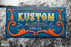 I painted this colorful sign for the Kustom Kulture Festival 2019 in Germany. 🤘🚨🖌 Visit me/us in the artist tent on May in Herten germany. Brush Lettering, Lettering Design, Sign Design, Hand Lettering, Painted Letters, Hand Painted Signs, Retro Signage, Sign Writing, Truck Art