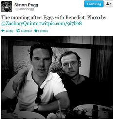 Benedict Cumberbatch and Simon Pegg. Zachary Quinto took the photo.  I die.