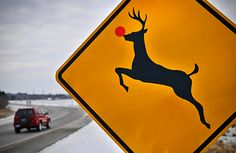I've seen this reindeer xing sign...it's right off the bridge from Chincotague, MD...next to Wallops Island.. Near our little house!!!! Makes me smile everytime!!!
