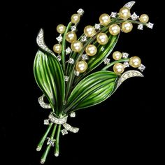 Trifari 'Alfred Philippe' Green Enamel and Pearls Lily of the Valley Pin