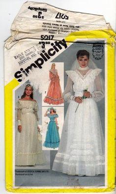 The most fabulous 1980s formalwear! Simplicity Pattern 5217 uncut 10 Bridal Wedding Bridesmaid Dress Gunne Sax 1980s