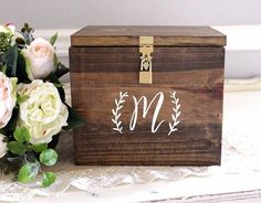 This card box is perfect for your wedding cards and even to use in your home to decorate with. It comes with your monogram hand painted on the front, and a lock