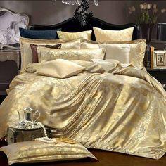Silk Tencel satin Jacquard bed linen bedding set Queen king size bedclothes duvet cover set noble High Quality #2